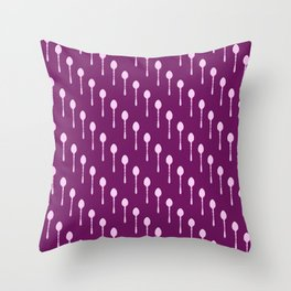 Spoons Pattern (Pink) Throw Pillow