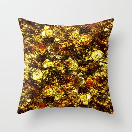 Solid Gold - Abstract, metallic gold textured pattern Throw Pillow