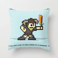 skyrim Throw Pillows featuring 8 bit Dovahkiin by Deep Search