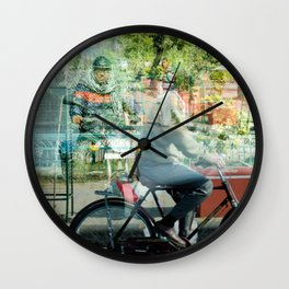 Double Exposure Commuters Wall Clock