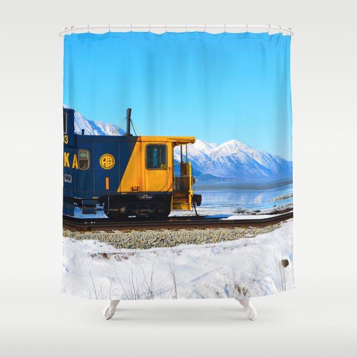 Caboose - Alaska Train Shower Curtain by alaskanmommabear   Society6