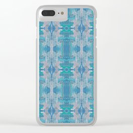 steel blue & muted pink pattern Clear iPhone Case