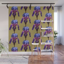 iris variations: periwinkle on gold Wall Mural
