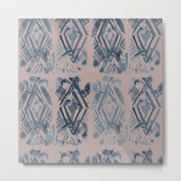 Simply Ikat Ink in Indigo Blue on Clay Pink Metal Print