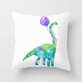 brachiosaurus with balloon Throw Pillow