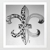 fleur de lis Art Prints featuring Fleur De Lis - Drawing by neena