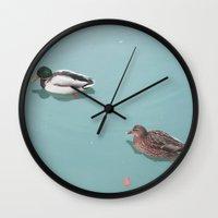 ducks Wall Clocks featuring Ducks by StiligeCecilie