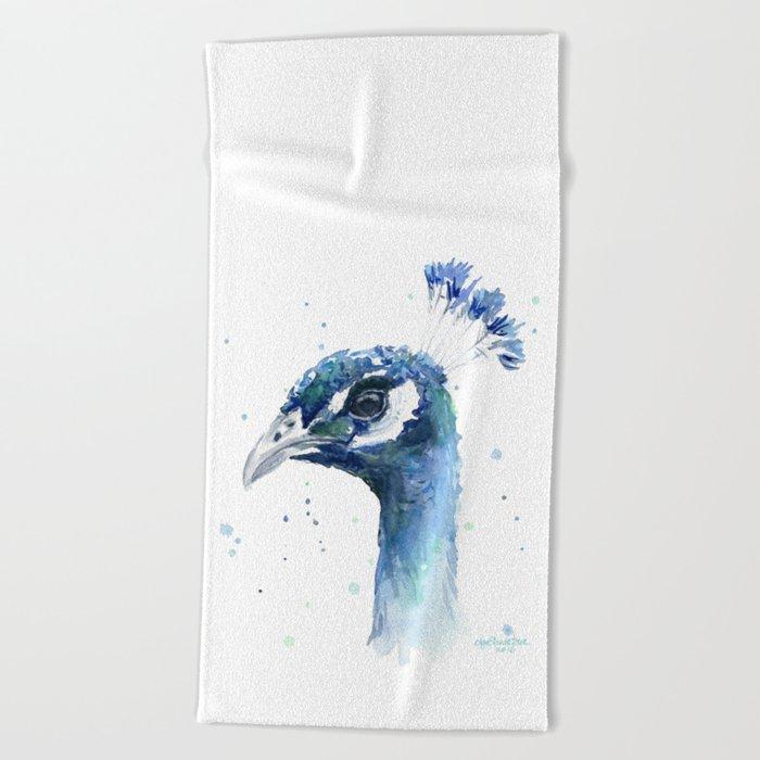 Peacock Watercolor Painting Bird Animal Beach Towel