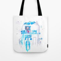 r2d2 Tote Bags featuring R2D2 by sooarts