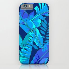 Teal and Turquoise Blue Palm Leaves Art Design iPhone Case