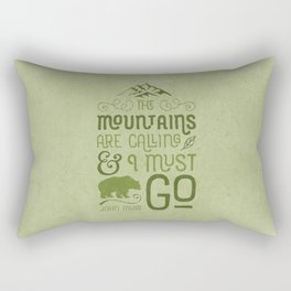Mountains Are Calling in Green Rectangular Pillow