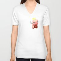 pigs V-neck T-shirts featuring When Pigs.... by Stephen Yan