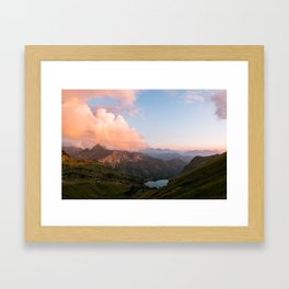 Mountain lake in Germany with Moon - landscape photography Framed Art Print