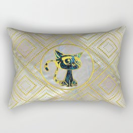 Gold Framed Cute Kitten On Mother of Pearl Rectangular Pillow