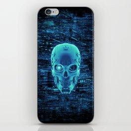 Gamer Skull BLUE TECH / 3D render of cyborg head iPhone Skin