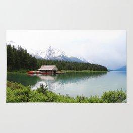 Boat House On Maligne Lake Rug