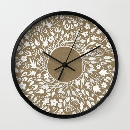 white lace flower frame Wall Clock