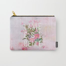 LAVIE EST BELLE - Watercolor - Pink Flowers Roses - Rose Flower Carry-All Pouch