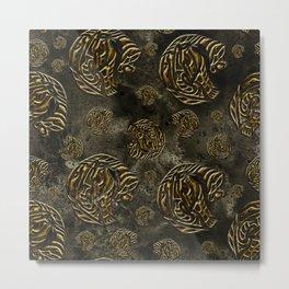 Mosaic of golden elephants Metal Print