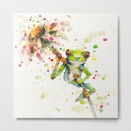 Hello There Bright Eyes (Green Tree Frog) Metal Print