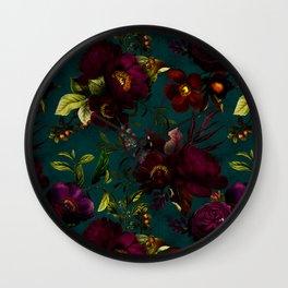 Before Midnight Vintage Flowers Garden Wall Clock