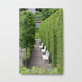 White Benches Metal Print