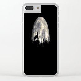 Wild Solitary Wolf Clear iPhone Case