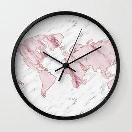 Wanderlust marble - pink stone Wall Clock