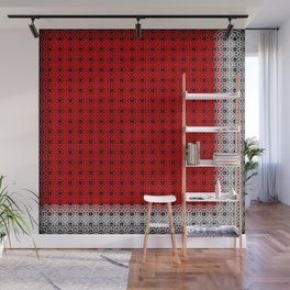 Openwork red tablecloth with a white border. Background for a banner in the style of postcards and i Wall Mural