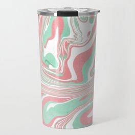 Elegant pink green abstract watercolor marble Travel Mug