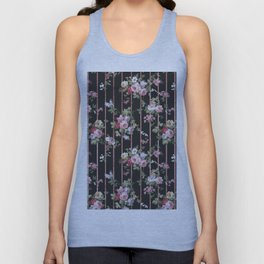 Elegant faux rose gold black stripes vintage blush pink lavender floral Unisex Tank Top