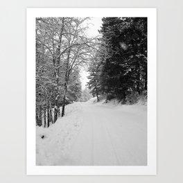 Wintery Road Art Print