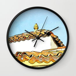 Roof with ceramic pine cone Wall Clock