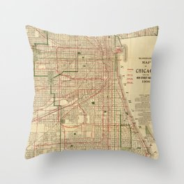 Vintage Map of The Chicago Railroads (1906) Throw Pillow