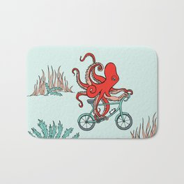 Octopus on bike Bath Mat