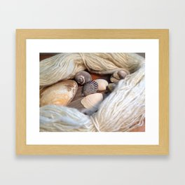 Seashells and Spun Sheep's Wool Framed Art Print