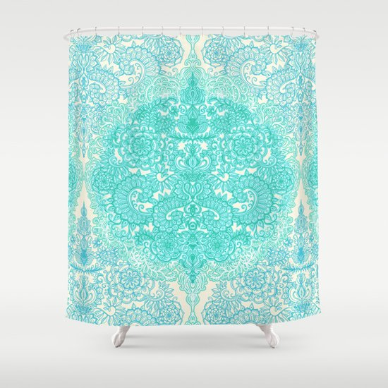 Happy Place Doodle in Mint Green & Aqua Shower Curtain