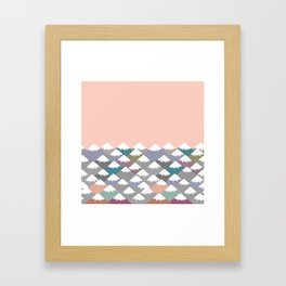 Nature background with Mountain landscape. Gray, pink, blue navy mountain with snow-capped peaks. Framed Art Print