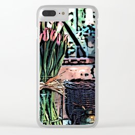 Wicker Basket And Flowers Clear iPhone Case