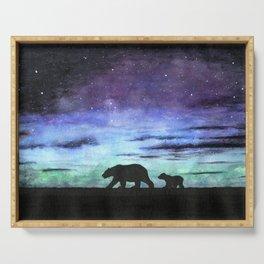 Aurora borealis and polar bears (black version) Serving Tray