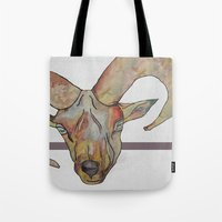 goat Tote Bags featuring Goat by WaterLily