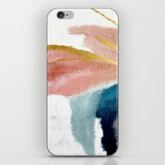 Exhale: a pretty, minimal, acrylic piece in pinks, blues, and gold iPhone Skin