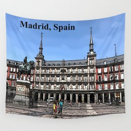 Comic Art of plaza in Madrid, Spain Wall Tapestry