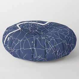 Navy on White London Street Map Floor Pillow
