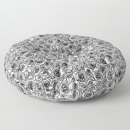 Seamless black and white rose line drawing Floor Pillow