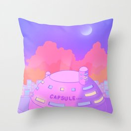 Pastel Capsule Corp Throw Pillow
