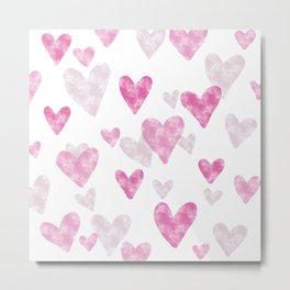 Pink Heart Confetti Metal Print