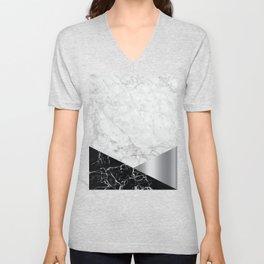 White Marble - Black Granite & Silver #230 Unisex V-Neck
