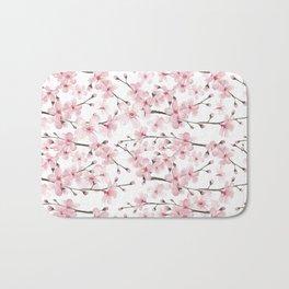 Watercolor cherry blossom Bath Mat