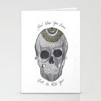 bukowski Stationery Cards featuring Bukowski Mandala Skull by Kami Sparks